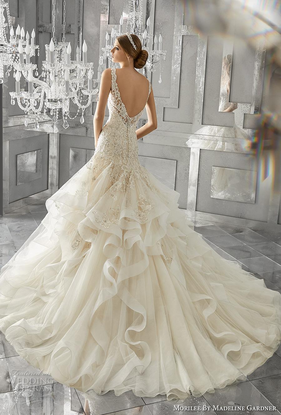 morilee fall 2017 bridal strap v neck heavily embellished bodice layered skirt princess drop waist a  line wedding dress open scoop back chapel train (8195) bv
