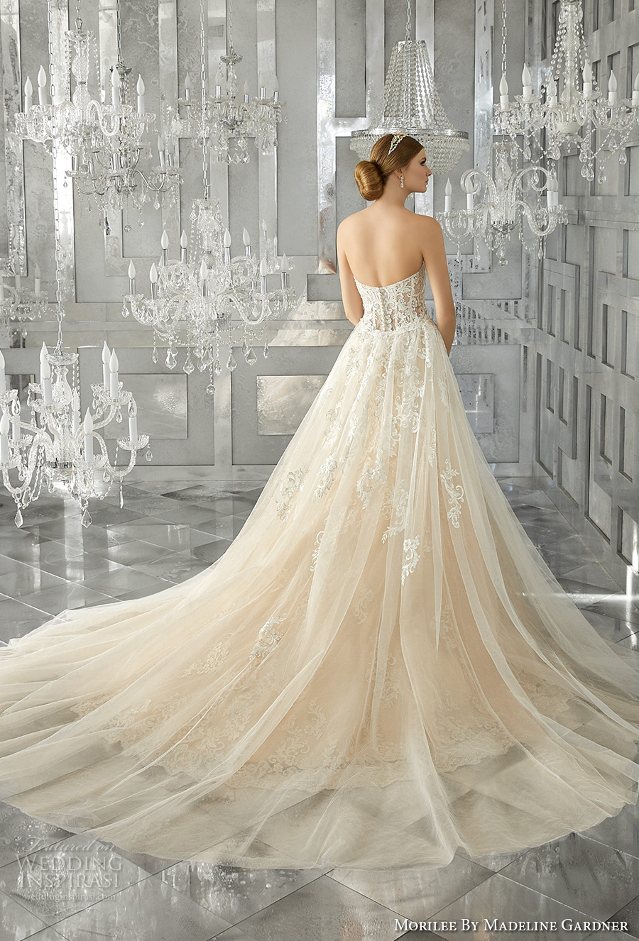 morilee fall 2017 bridal strapless sweetheart neckline full embellishment elegant fit and flare wedding dress a  line overskirt chapel train (8193) bv