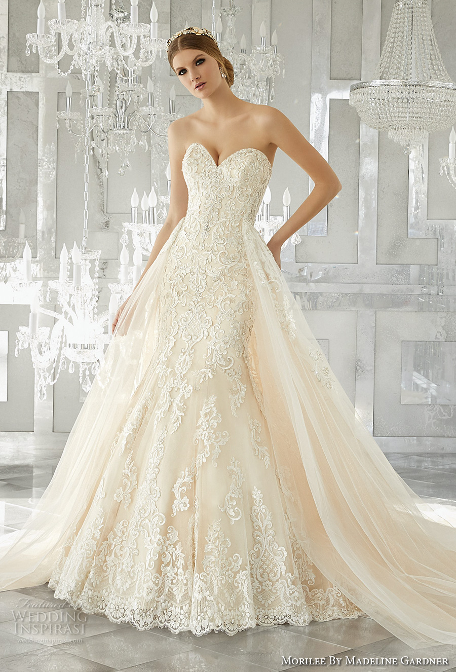 morilee fall 2017 bridal strapless sweetheart neckline full embellishment elegant fit and flare wedding dress a  line overskirt chapel train (8193) mv