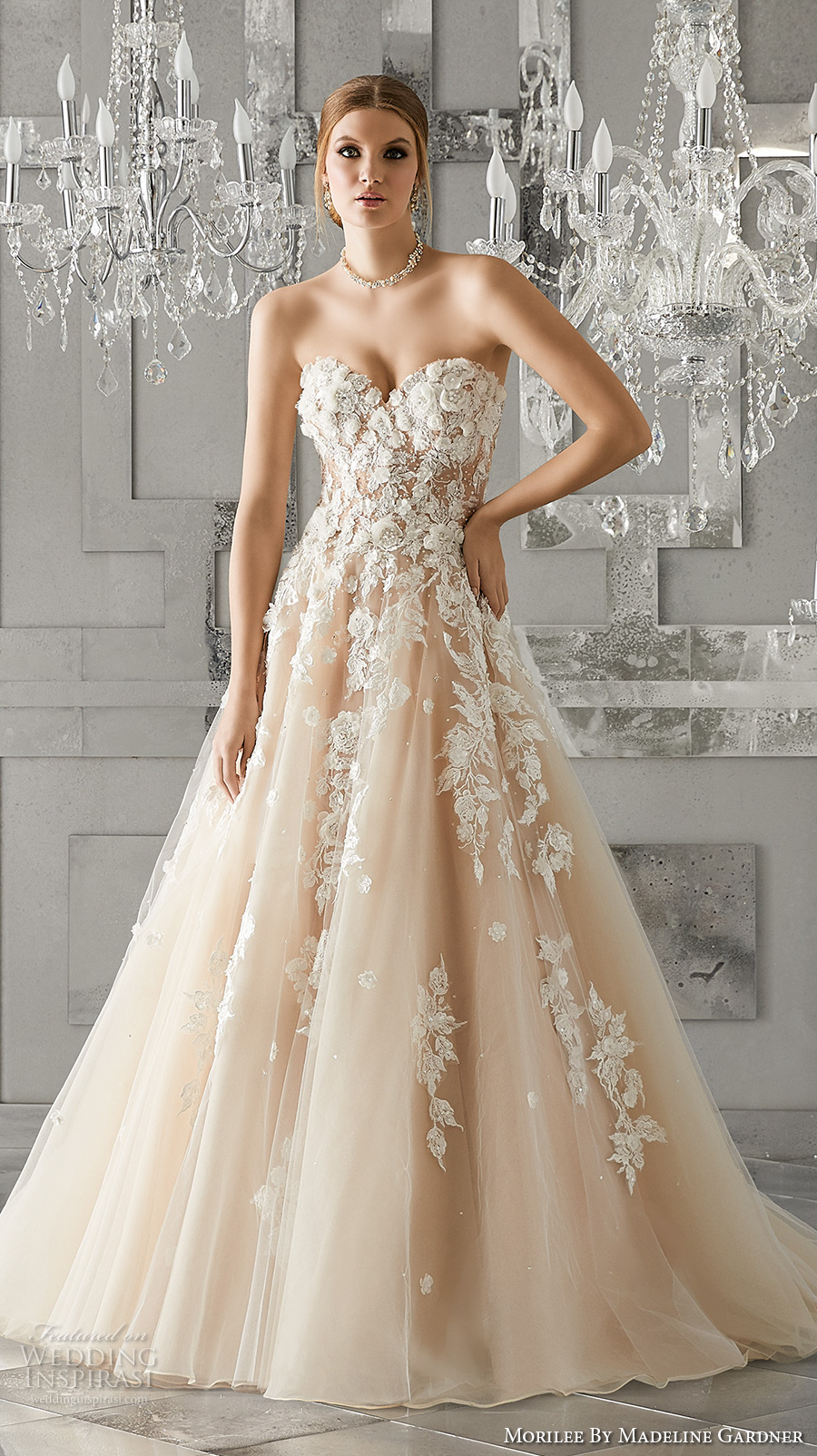 morilee fall 2017 bridal strapless sweetheart neckline heavily embellished bodice blush color romantic a  line wedding dress chapel train (8171) mv