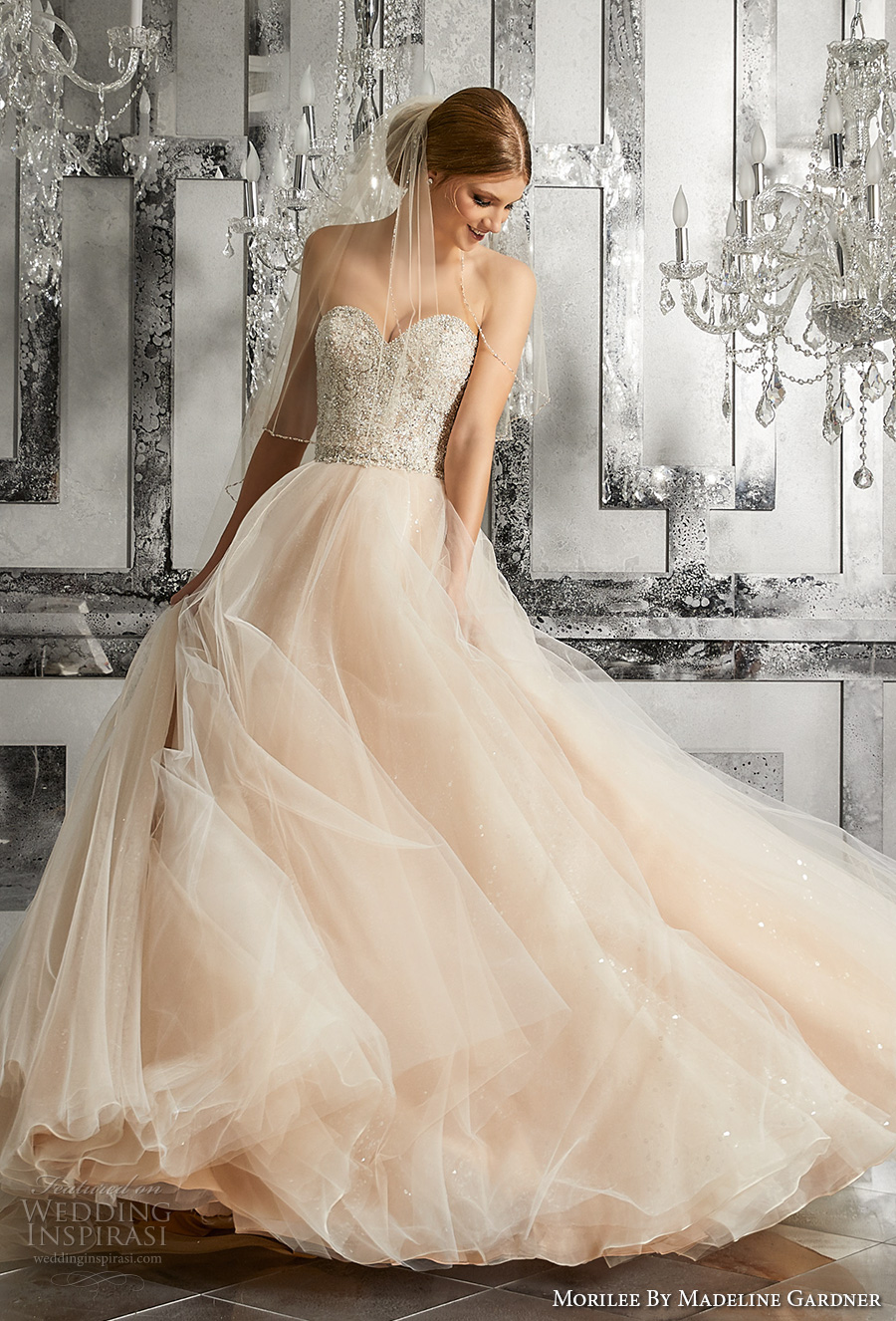 morilee fall 2017 bridal strapless sweetheart neckline heavily embellished bodice tulle skirt blush color romantic a  line wedding dress chapel train (8175) mv