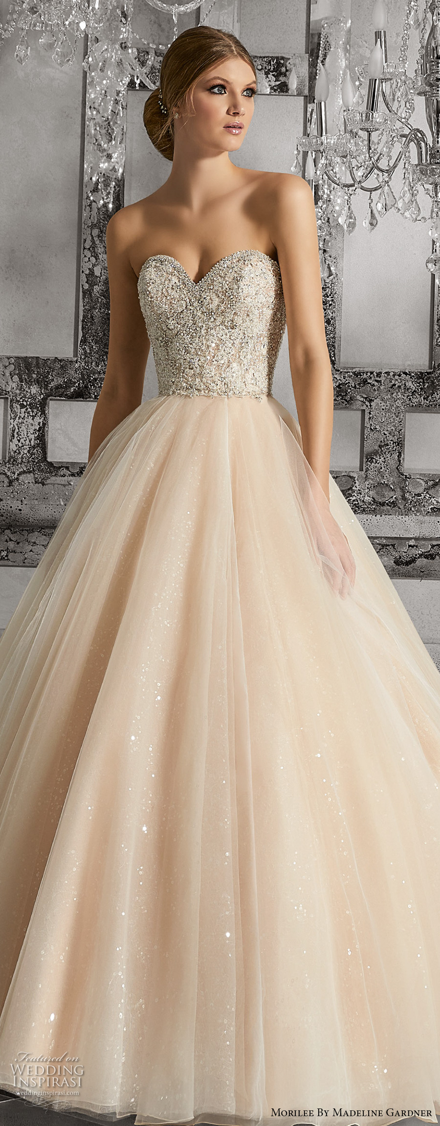 morilee fall 2017 bridal strapless sweetheart neckline heavily embellished bodice tulle skirt blush color romantic a  line wedding dress chapel train (8175) zv