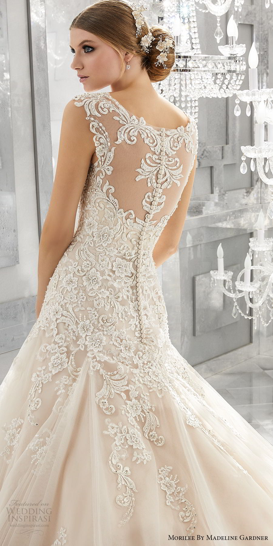 morilee fall 2017 bridal thick strap sweetheart neckline heavily embellished bodice romantic blush color a  line wedding dress sheer lace back chapel train (8174) zbv