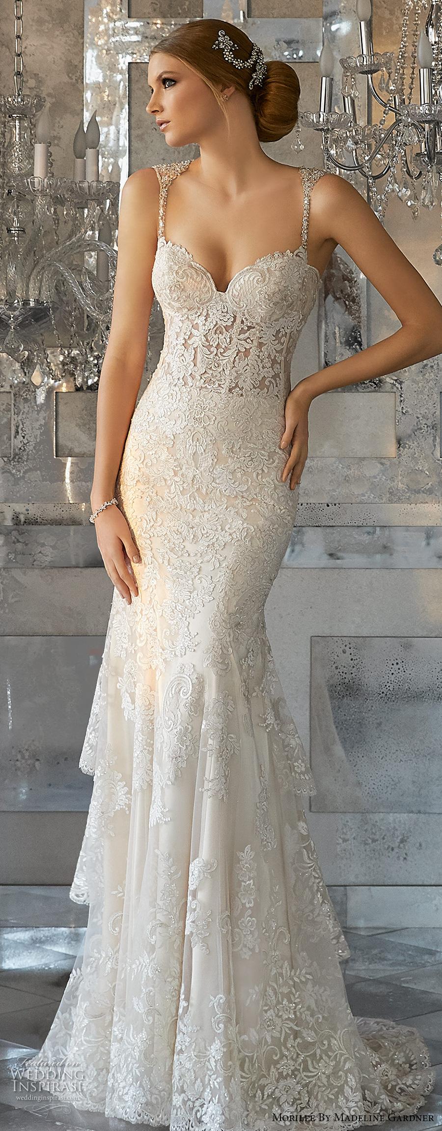 morilee fall 2017 bridal thin strap sweetheart neckline heavily embellished bustier bodice elegant glamorous sheath wedding dress strap back short train (8188) mv