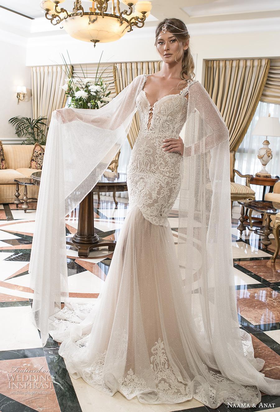 naama and anat 2018 bridal lace strap deep plunging sweetheart neckline heavily embellished bodice tulle skirt glamorous elegant trumpet wedding dress short train (soul) mv