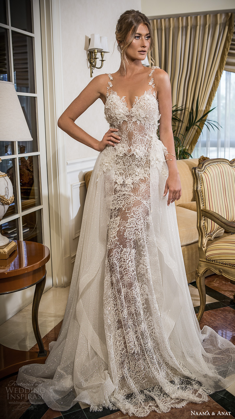 fef5b1f83cf7 naama and anat 2018 bridal lace thin strap sweetheart neckline full  embellishment elegant fit and flare