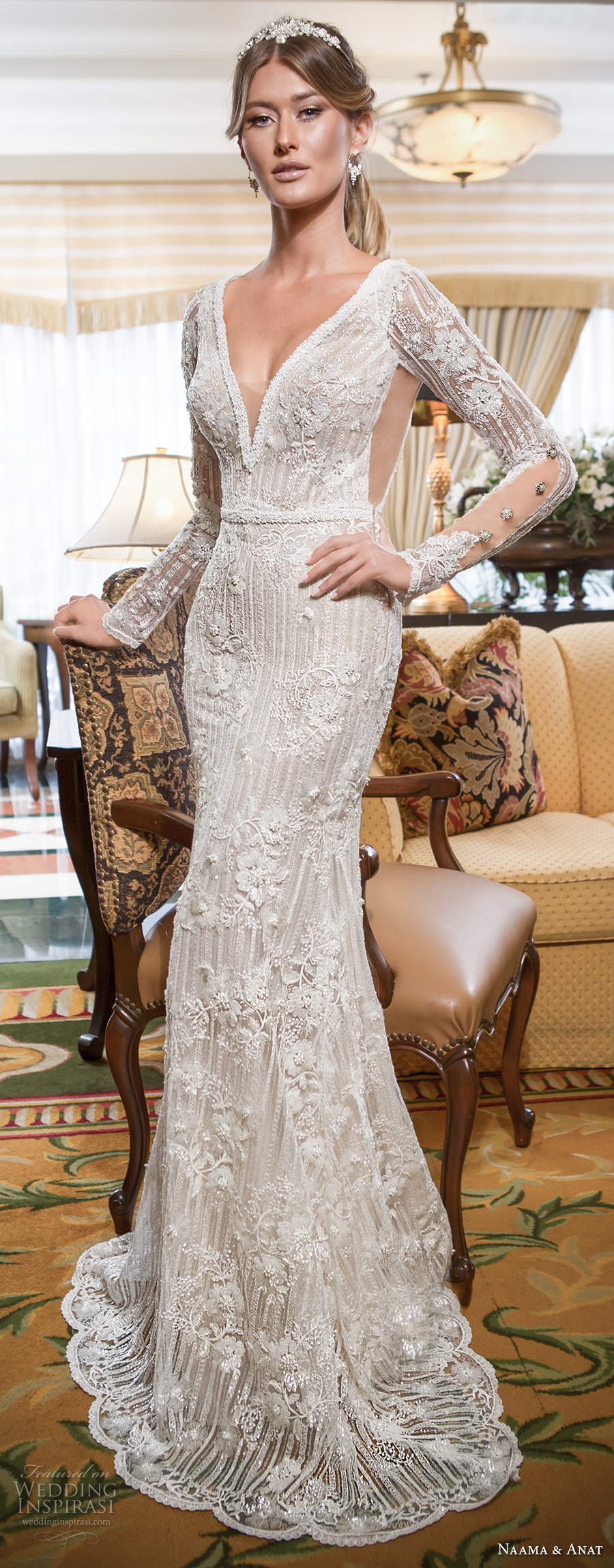 naama and anat 2018 bridal long sleeves deep v neckline full embellishment elegant fit and flare wedding dress open low v back sweep train (amore) mv