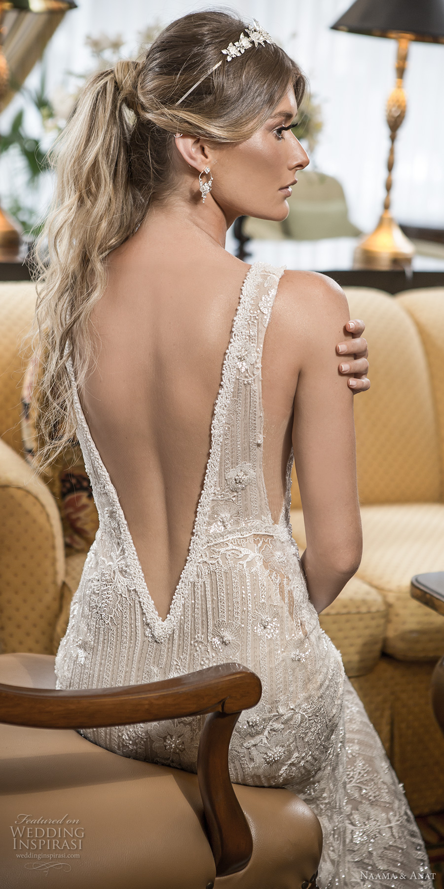 naama and anat 2018 bridal long sleeves deep v neckline full embellishment elegant fit and flare wedding dress open low v back sweep train (amore) zbv