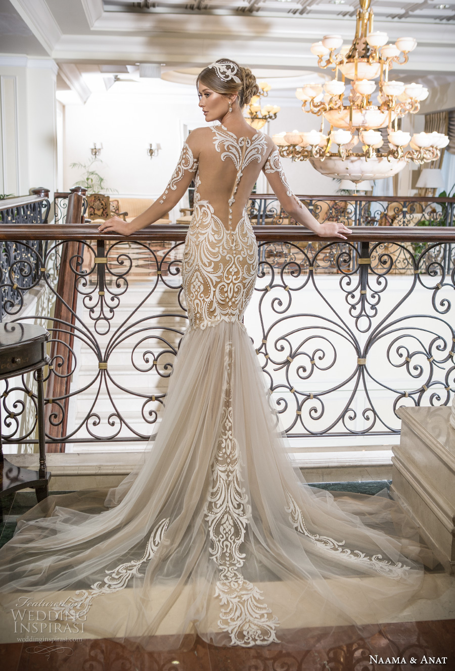 naama and anat 2018 bridal off the shoulder deep plunging sweetheart neckline heavily embroidered bodice tulle skirt gold glamorous mermaid wedding dress lace back chapel train (sensual) bv