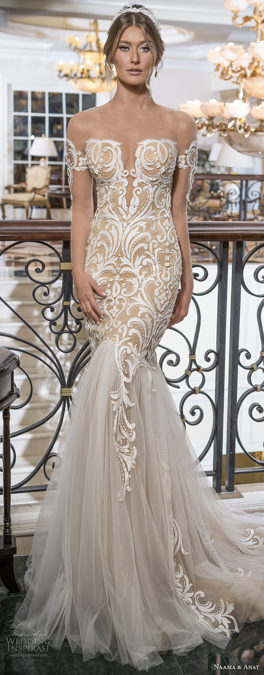 naama and anat 2018 bridal off the shoulder deep plunging sweetheart neckline heavily embroidered bodice tulle skirt gold glamorous mermaid wedding dress lace back chapel train (sensual) mv