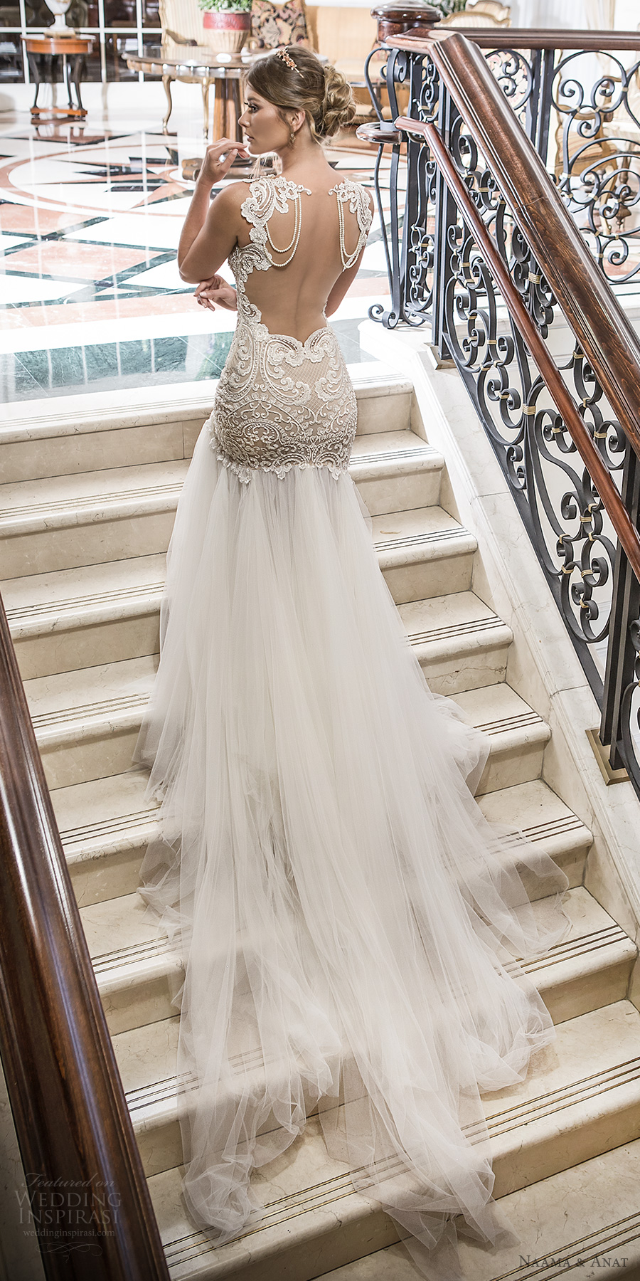 naama and anat 2018 bridal sleeveless deep plunging sweetheart neckline heavily embellished bodice tulle skirt champagne elegant sexy mermaid wedding dress open low back chapel train (devine) bv