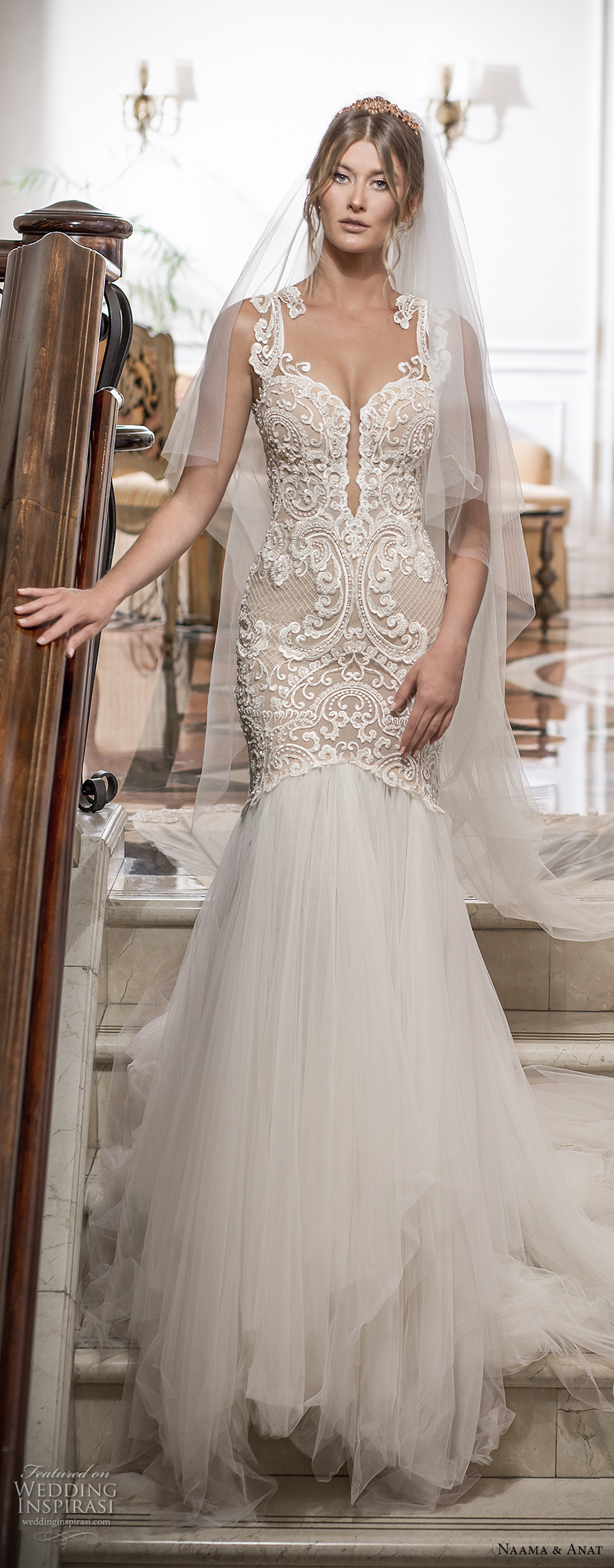 naama and anat 2018 bridal sleeveless deep plunging sweetheart neckline heavily embellished bodice tulle skirt champagne elegant sexy mermaid wedding dress open low back chapel train (devine) mv