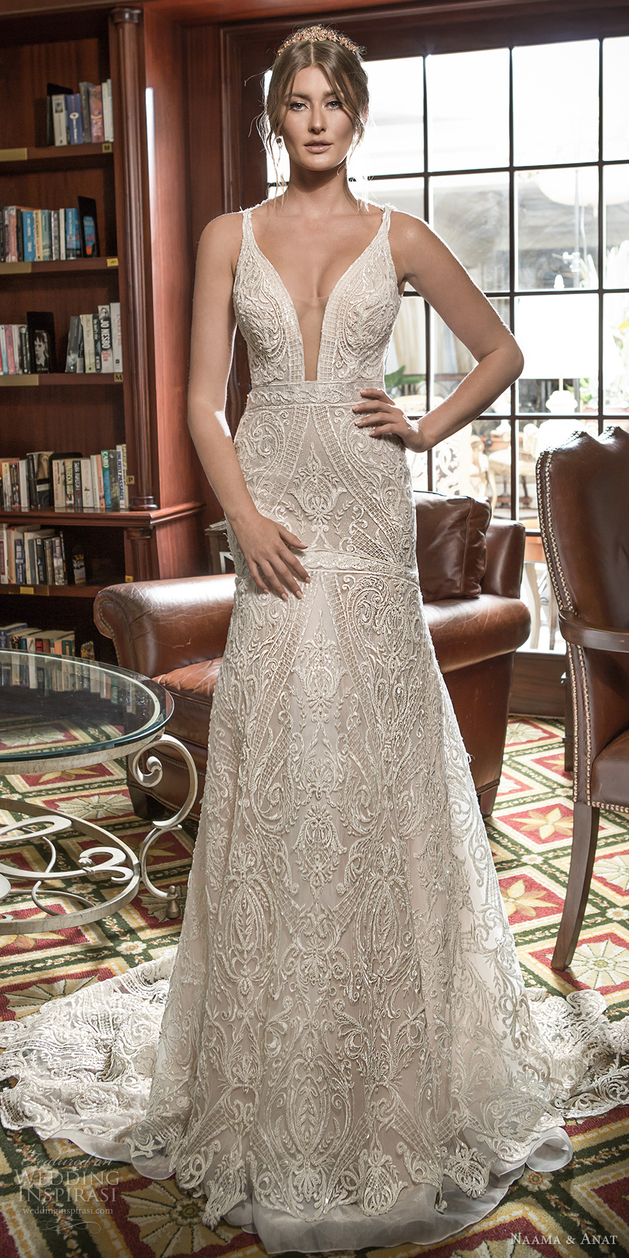 naama and anat 2018 bridal sleeveless deep plunging v neck full embellishment elegant drop waist modified a  line wedding dress open low back short train (aurora) mv
