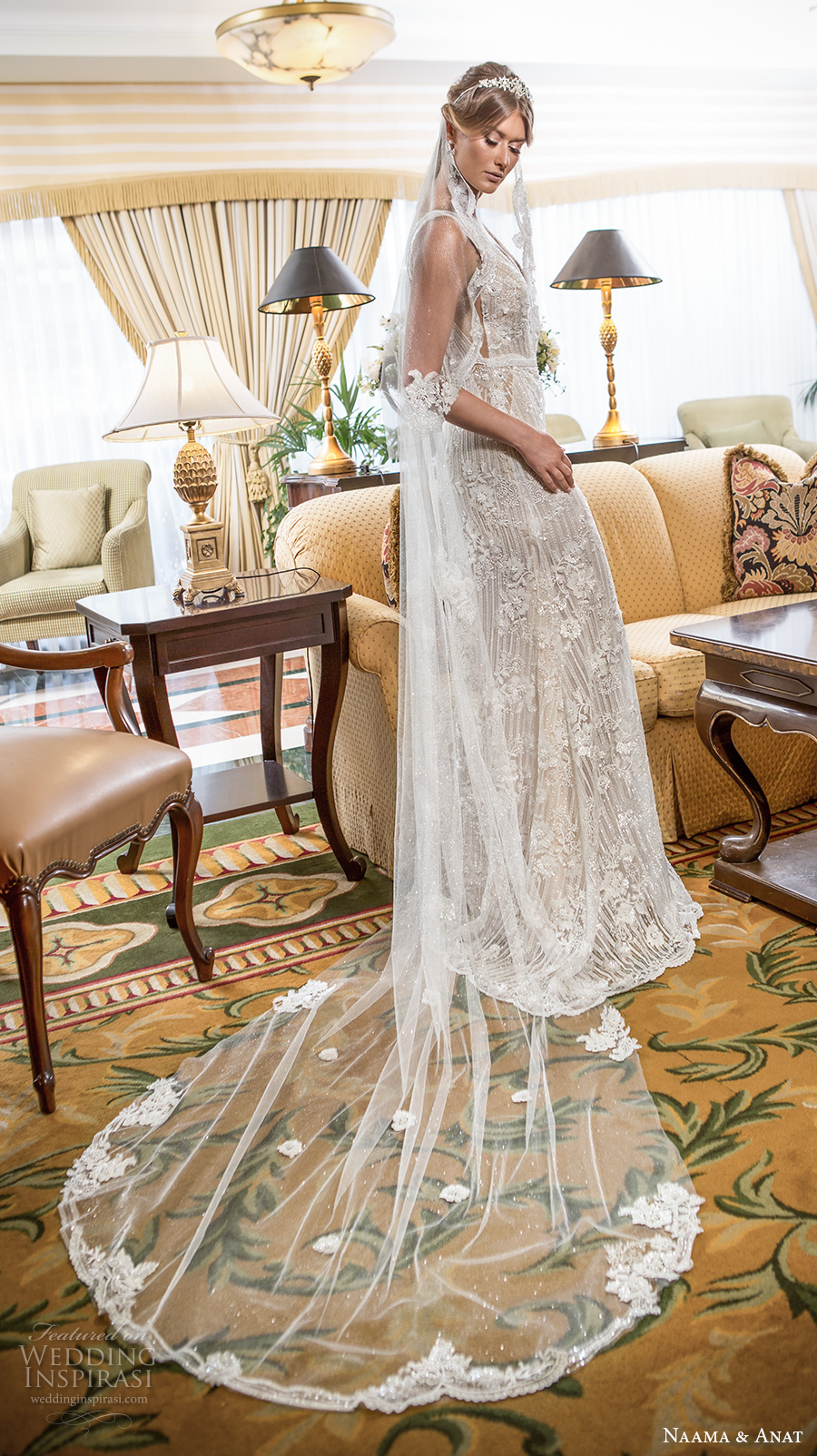 naama and anat 2018 bridal sleeveless  deep v neckline full embellishment elegant fit and flare wedding dress open low v back sweep train (amore) mv