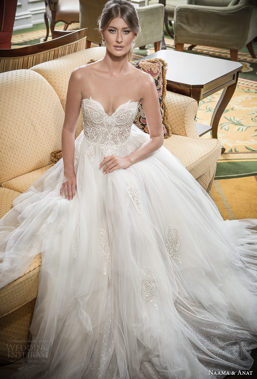 naama and anat 2018 bridal strapless sweetheart neckline heavily embellished bodice tulle skirt princess romantic ball gown a  line wedding dress sweep train (blessed) mv