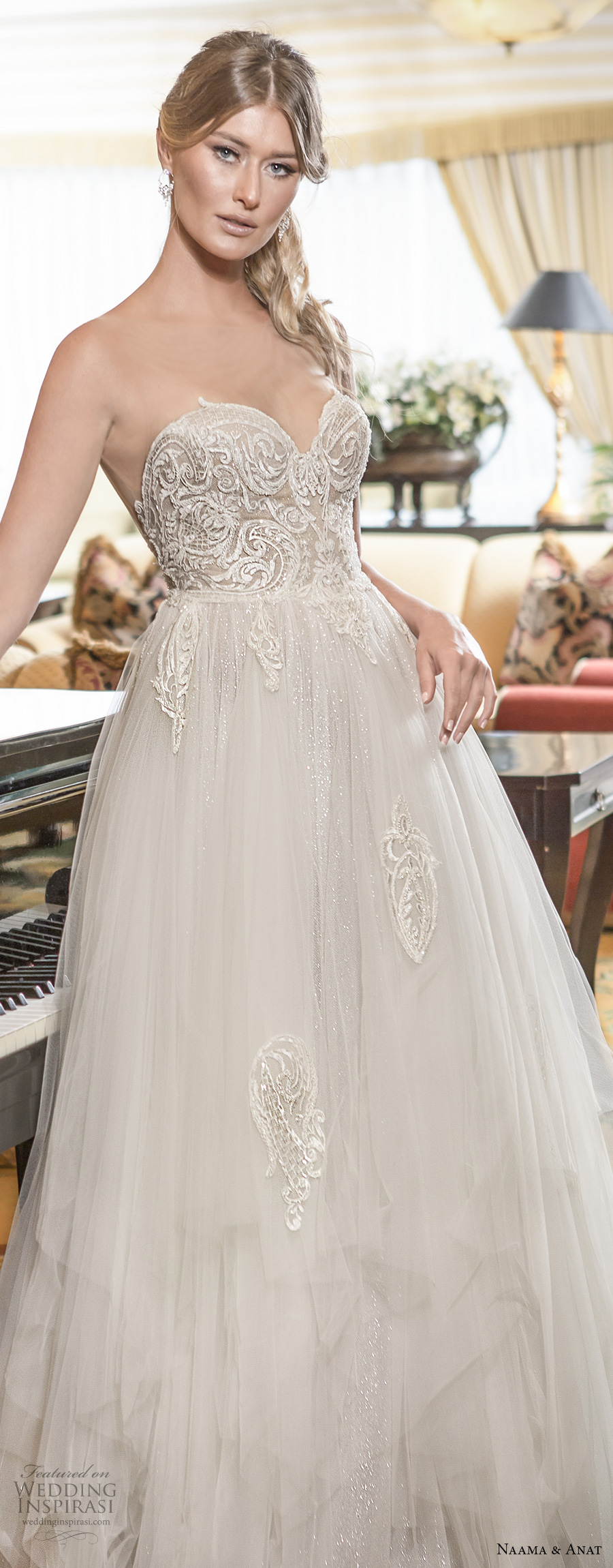 naama and anat 2018 bridal strapless sweetheart neckline heavily embellished bodice tulle skirt princess romantic ball gown a  line wedding dress sweep train (blessed) zv