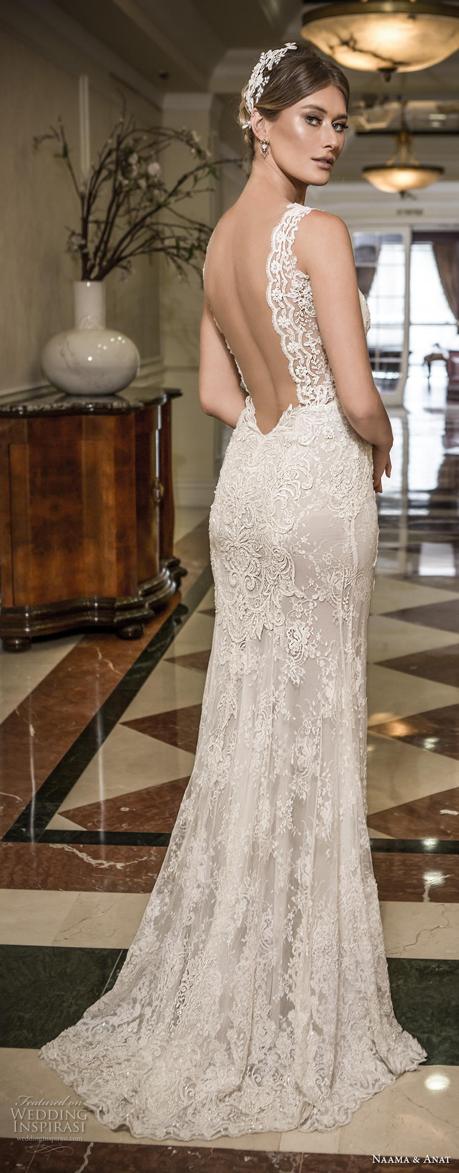 naama and anat 2018 bridal thick lace strap deep plunging sweetheart neckline full embellishment elegant sheath wedding dress open low back sweep train (libertas) bv