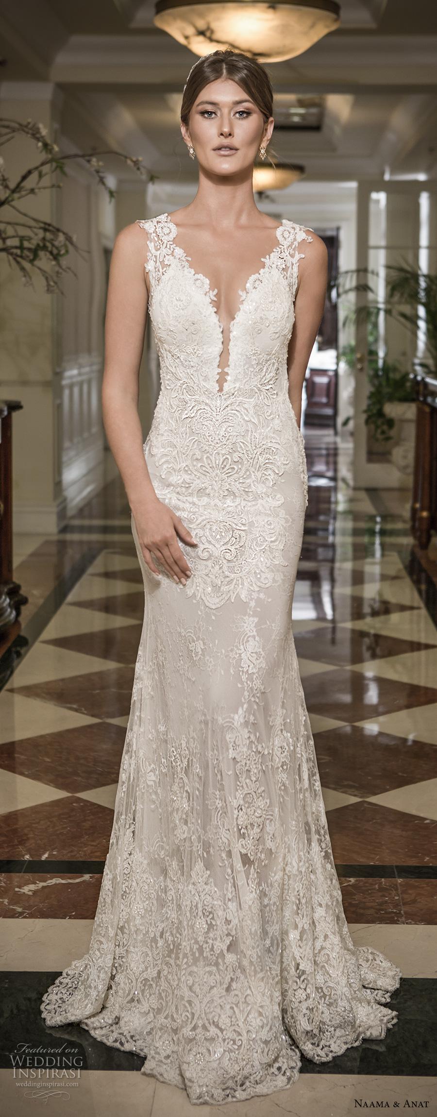 naama and anat 2018 bridal thick lace strap deep plunging sweetheart neckline full embellishment elegant sheath wedding dress open low back sweep train (libertas) mv