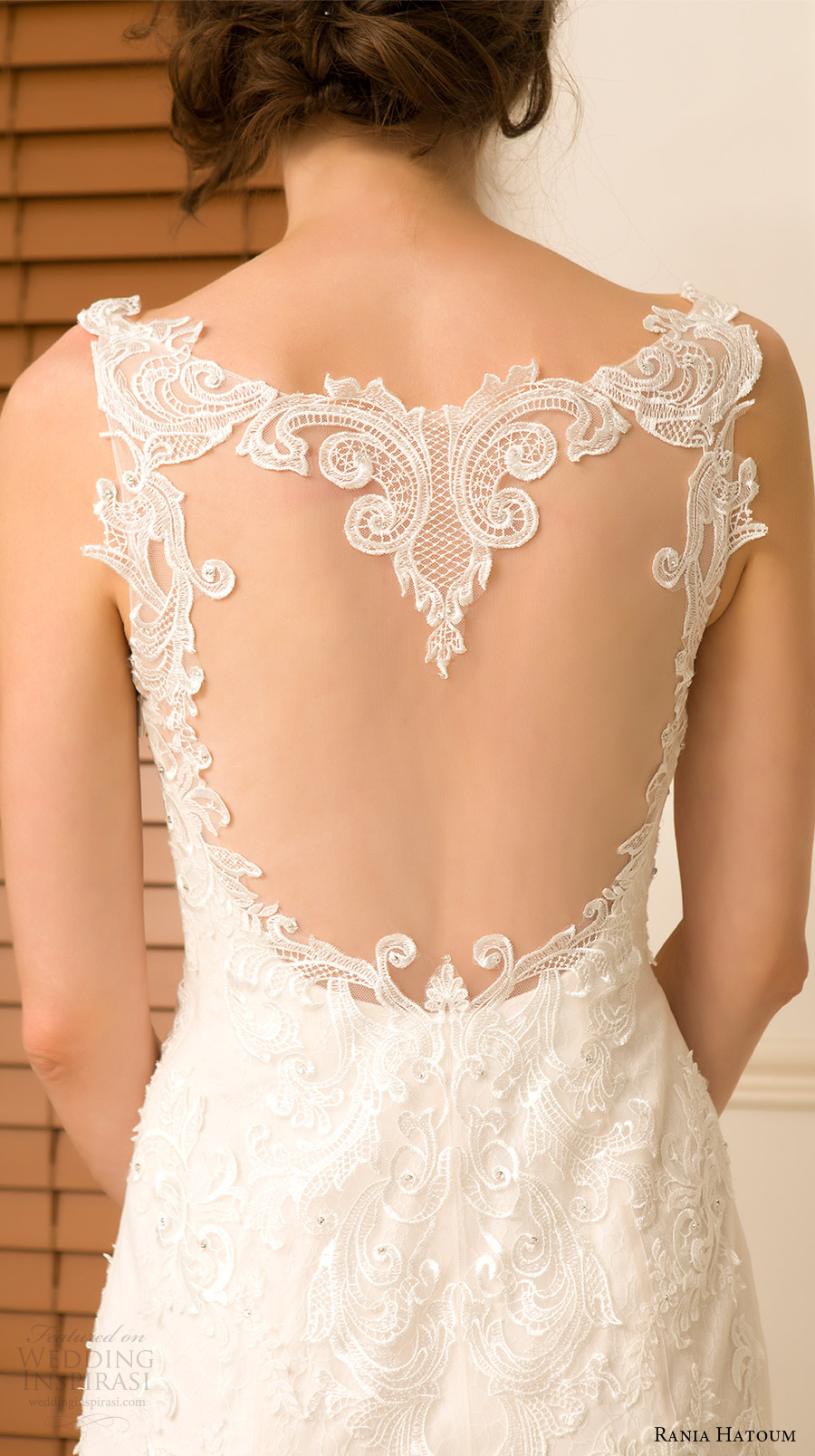 rania hatoum spring 2018 bridal sleeveless lace straps sweetheart lace bodice fit flare wedding dress (charlize) zbv sheer back train