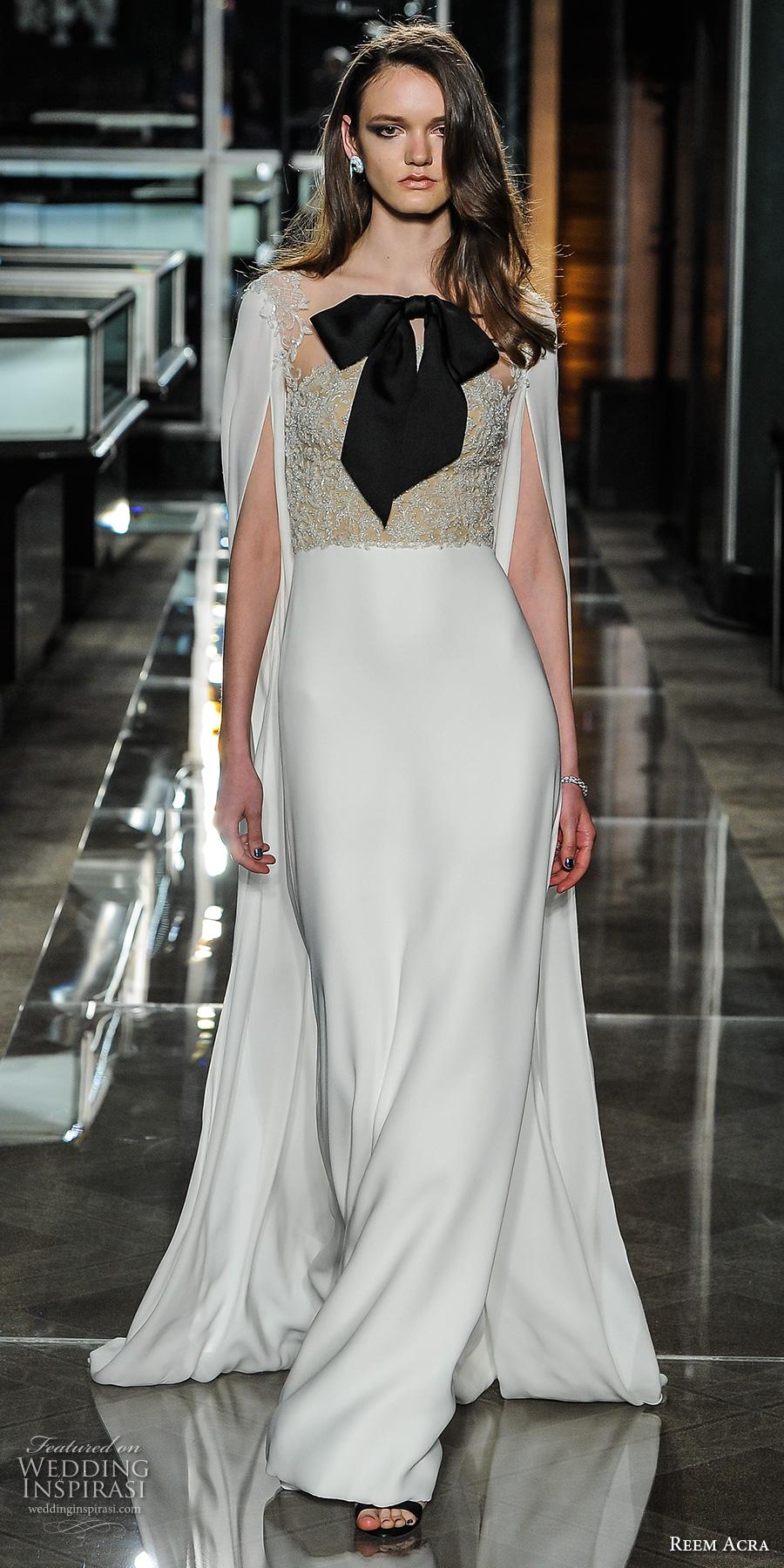 reem acra spring 2018 bridal hanging sleeves heavily embellished bodice clean skirt elegant sheath wedding dress sweep train (06) mv