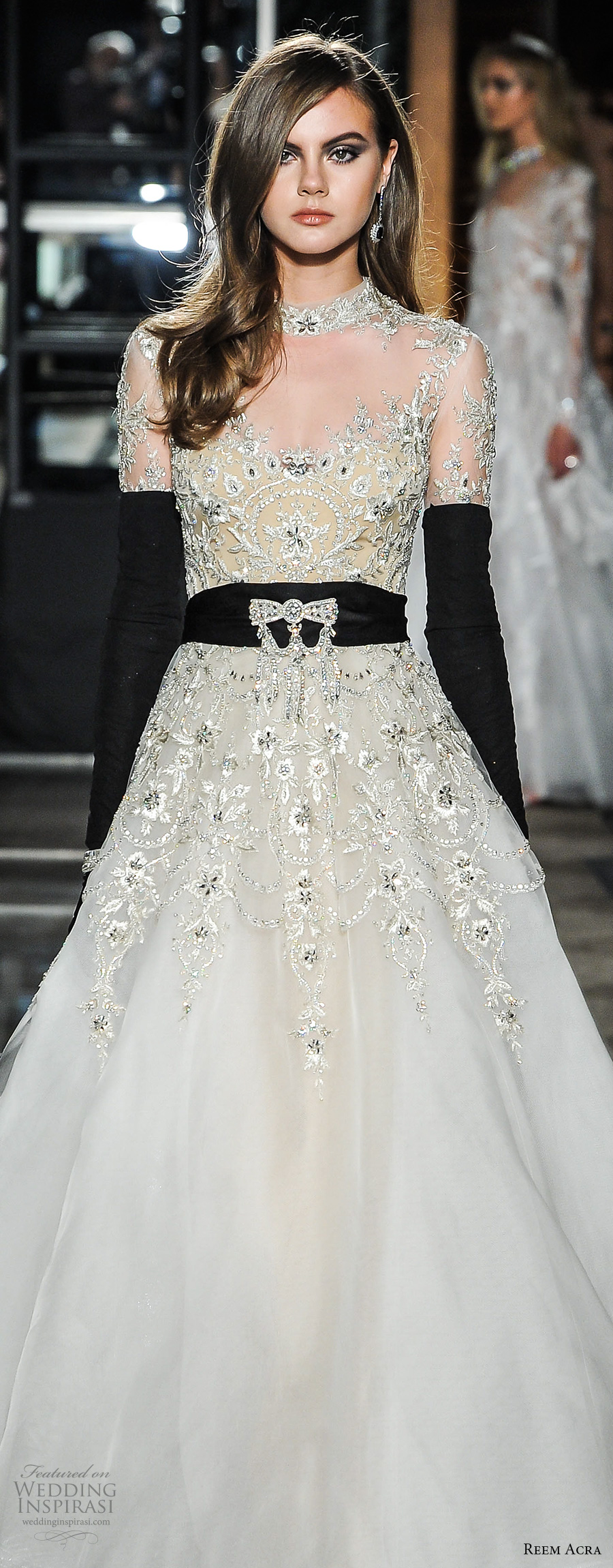 reem acra spring 2018 bridal liong sleeves high neck sweetheart neckline heavily beaded embellishment bodice glamourous a  line wedding dress covered embellished back chapel train (22jeweled) mv