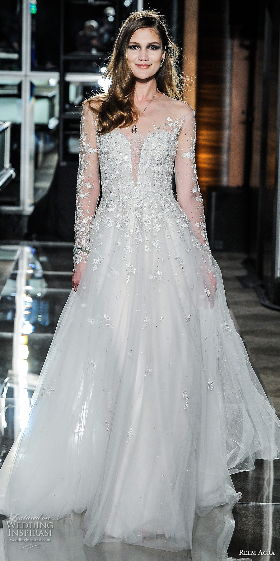 reem acra spring 2018 bridal long sleeves illusion jewel deep plunging sweetheart neckline heavily embellished bodice flowy skirt romantic a  line wedding dress short train (16secretgarden) mv