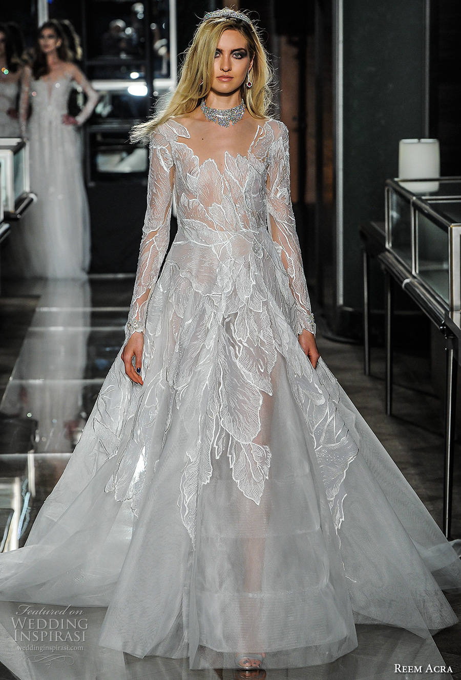 reem acra spring 2018 bridal long sleeves scoop neckline heavily embellished bodice elegant romantic a  line wedding dress sheer button back chapel train (20couture) mv