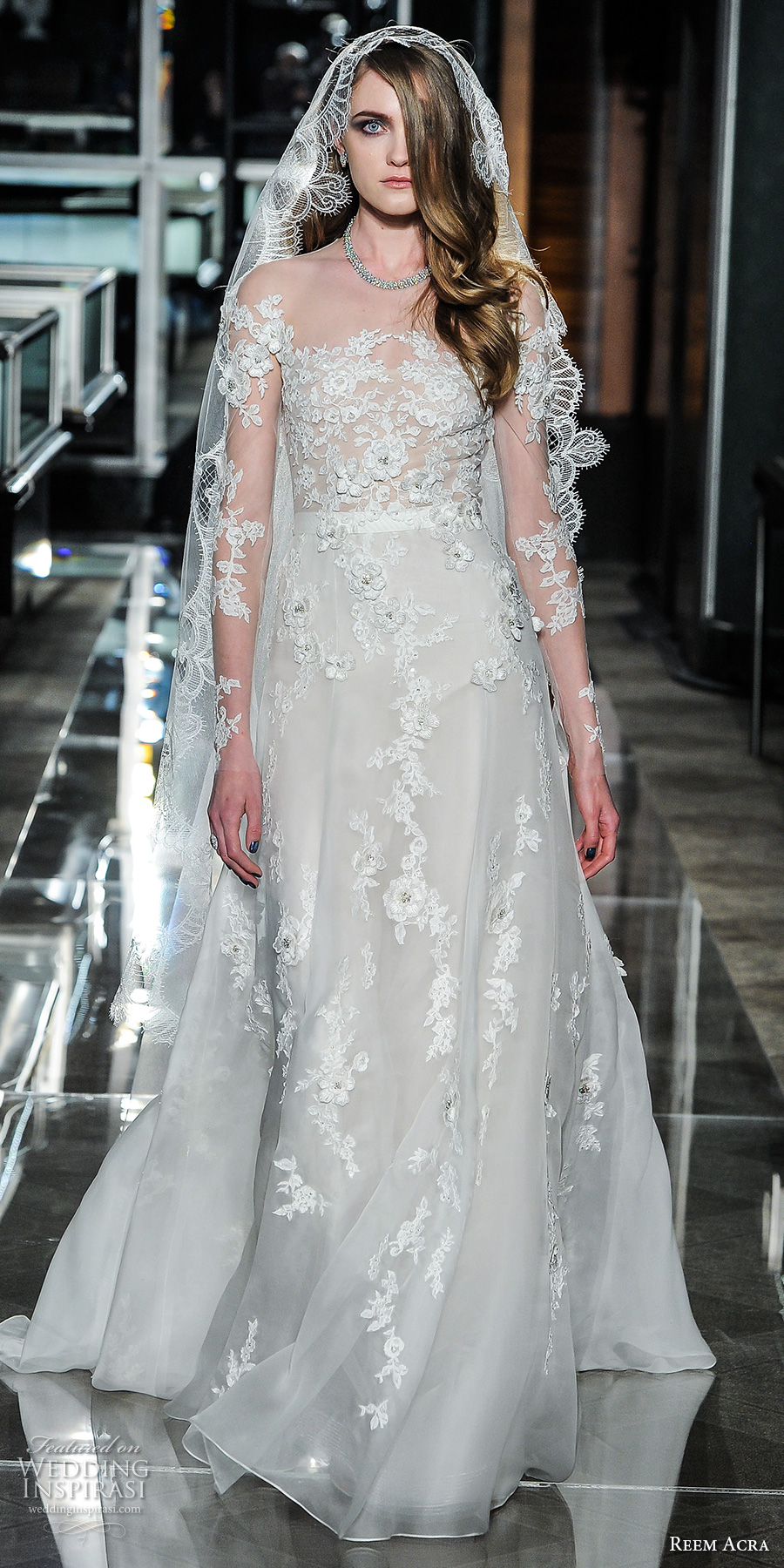 reem acra spring 2018 bridal long sleeves straight full embellishment elegant romantic modified a  line wedding dress covered lace back short train (15blossom) mv