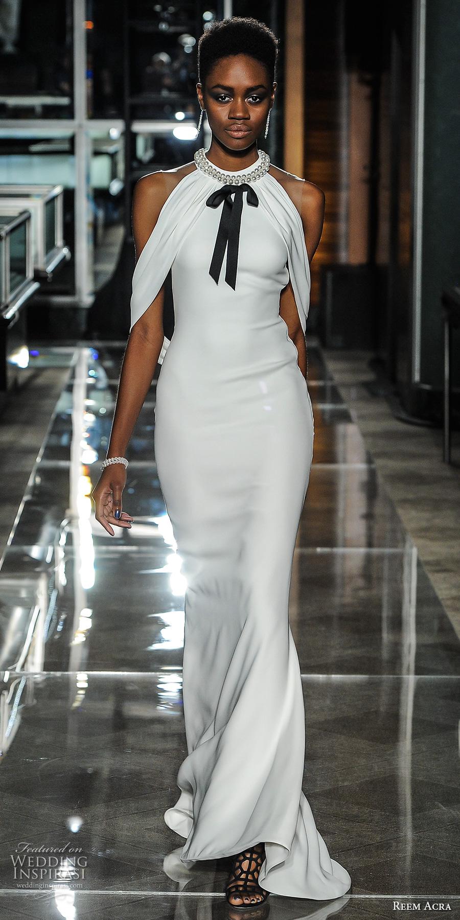 reem acra spring 2018 bridal sleeveless halter neck simple clean elegant chic sheath wedding dress open back sweep train (05) mv