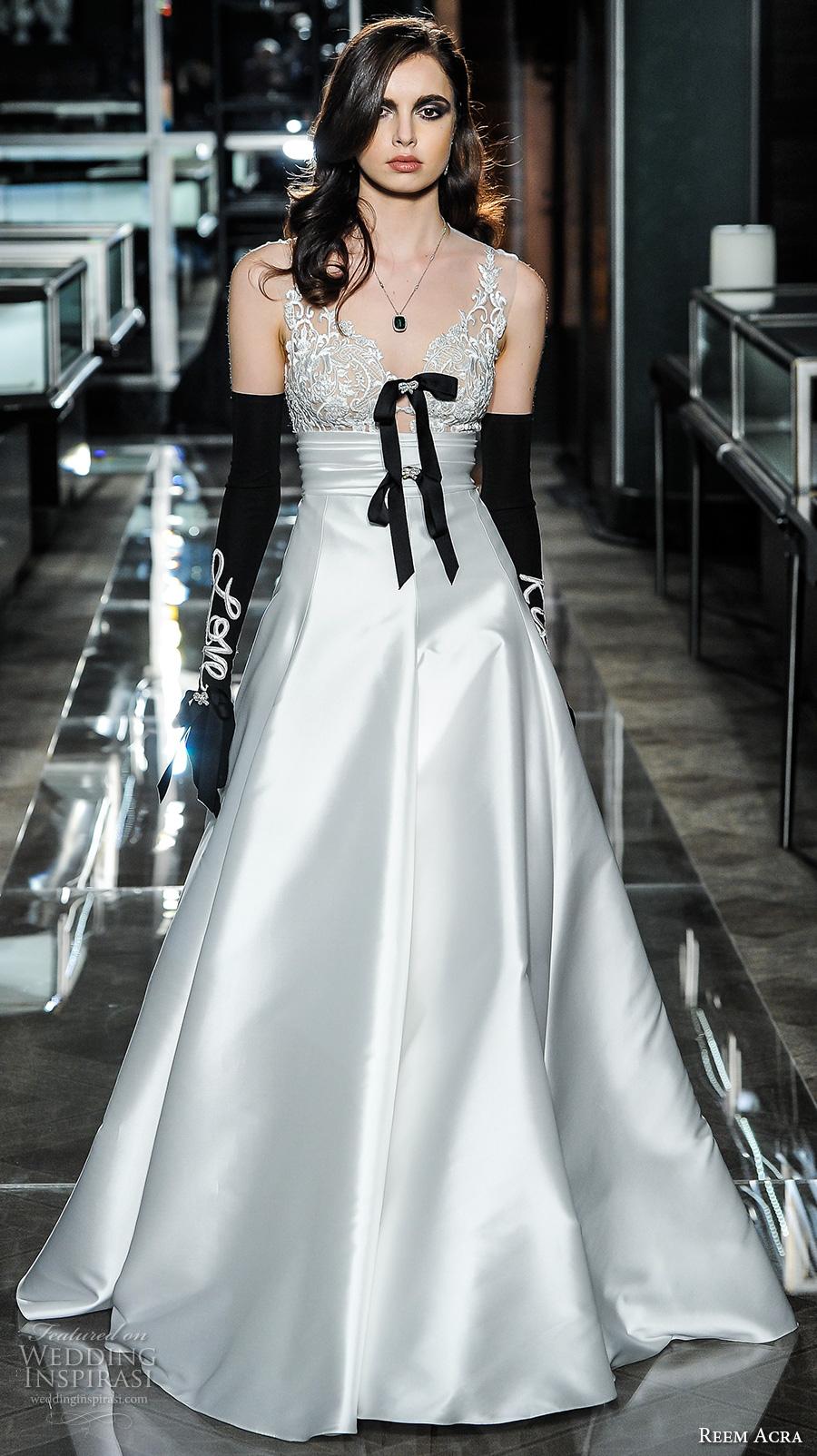 reem acra spring 2018 bridal sleeveless v neck heavily embellished bodice satin skirt elegant glamorous a  line wedding dress short train (04) mv