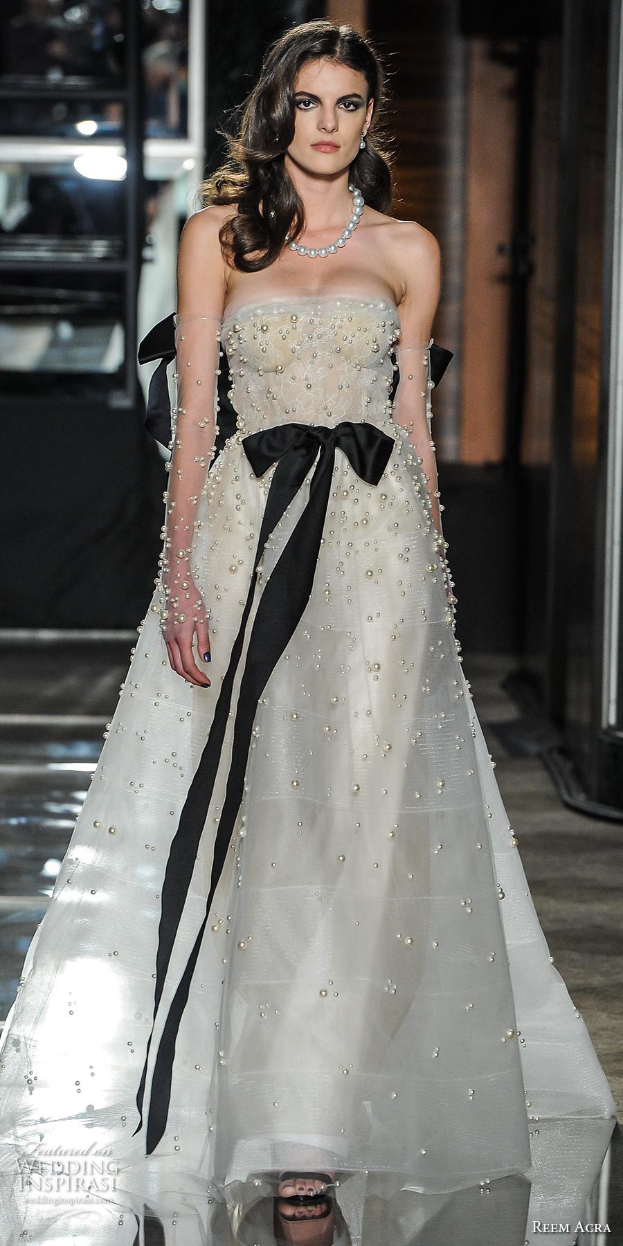 reem acra spring 2018 bridal strapless straight across neckline heavily embellished beaded bodice elegant a  line wedding dress chapel train (03) mv
