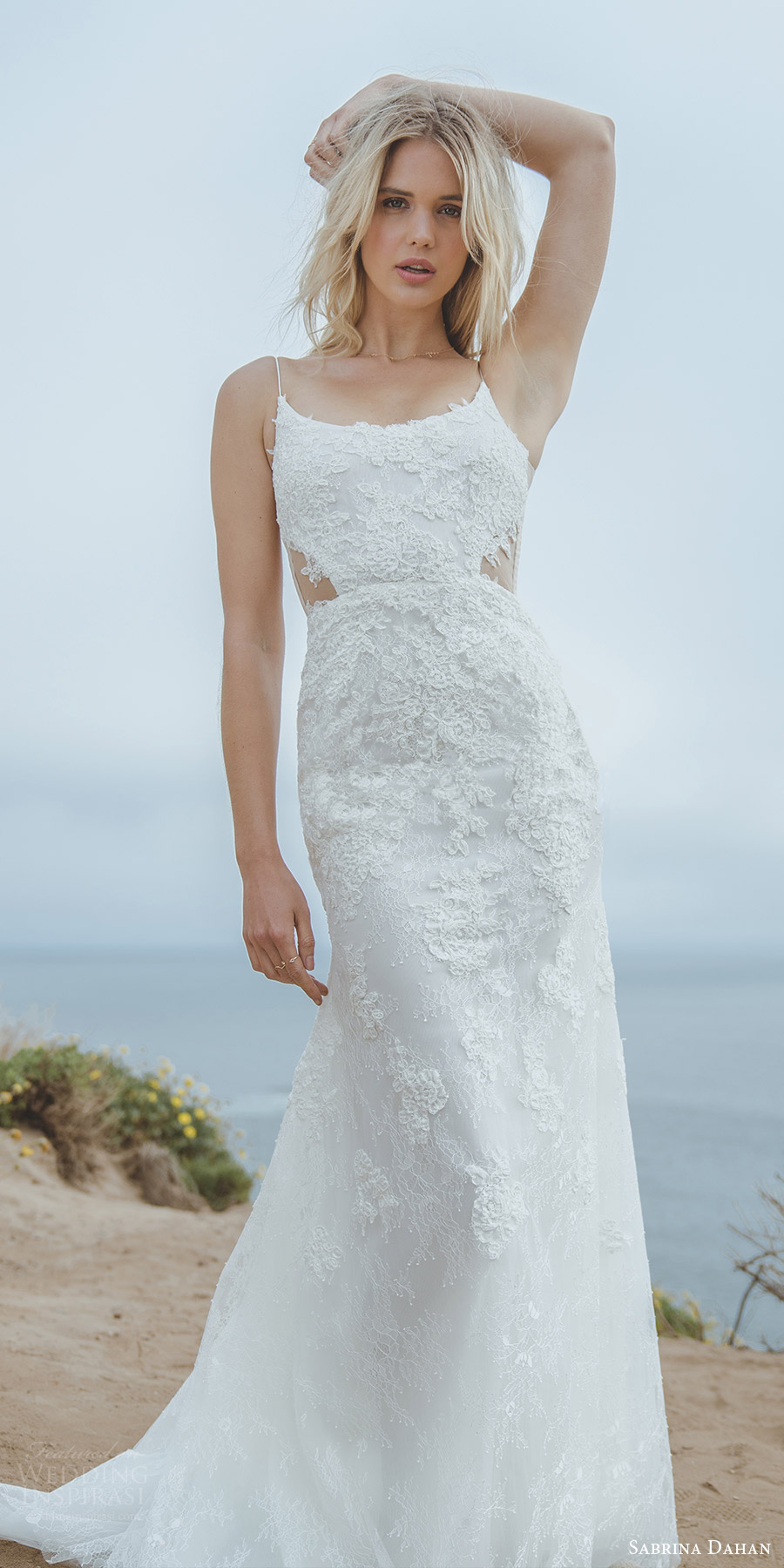 sabrina dahan spring 2018 bridal sleeveless thin straps scoop neck a line trumpet lace wedding dress (allie) mv sweep train romantic elegant