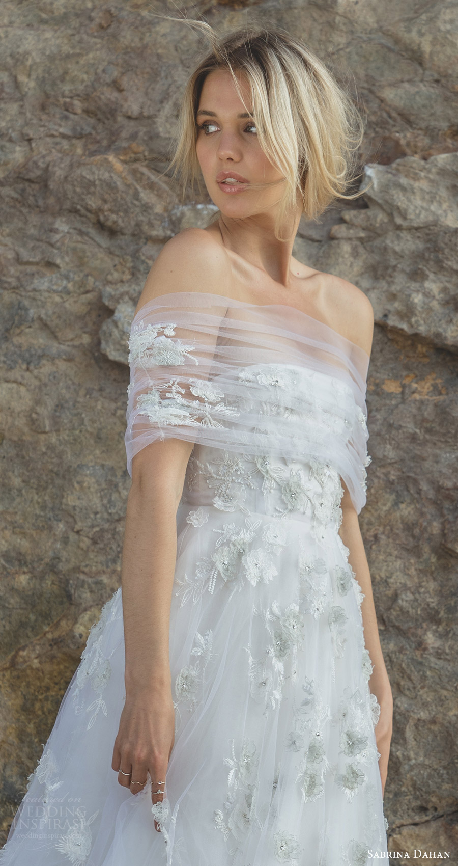 sabrina dahan spring 2018 bridal strapless straight across embellished bodice ruched tulle wrap a line wedding dress (liliane) zfv romantic