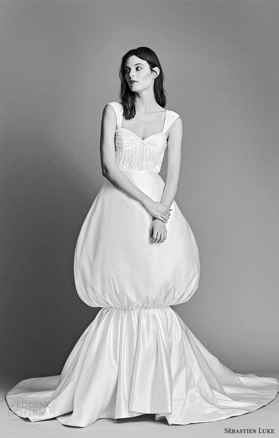 sebastien luke spring 2018 bridal cap sleeves sweetheart ruched bodice balloon skirt mermaid wedding dress (18b28) mv clean avant garde modern