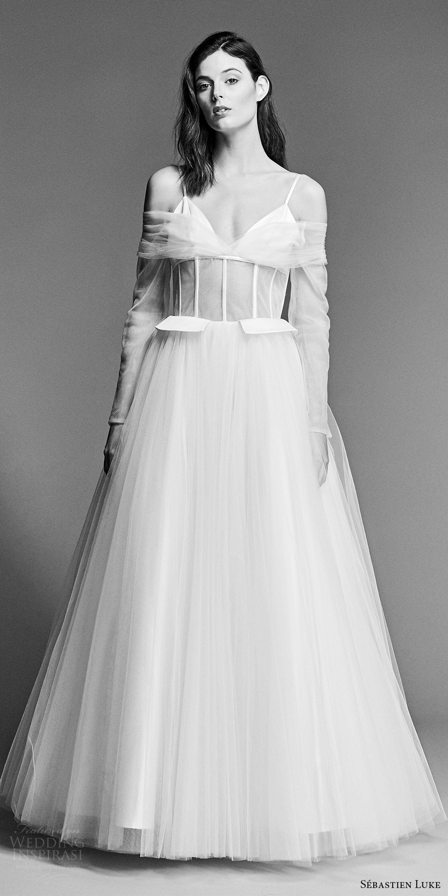 sebastien luke spring 2018 bridal illusion long sleeves v neck cold shoulder sheer bodice a line wedding dress (18b17) mv modern