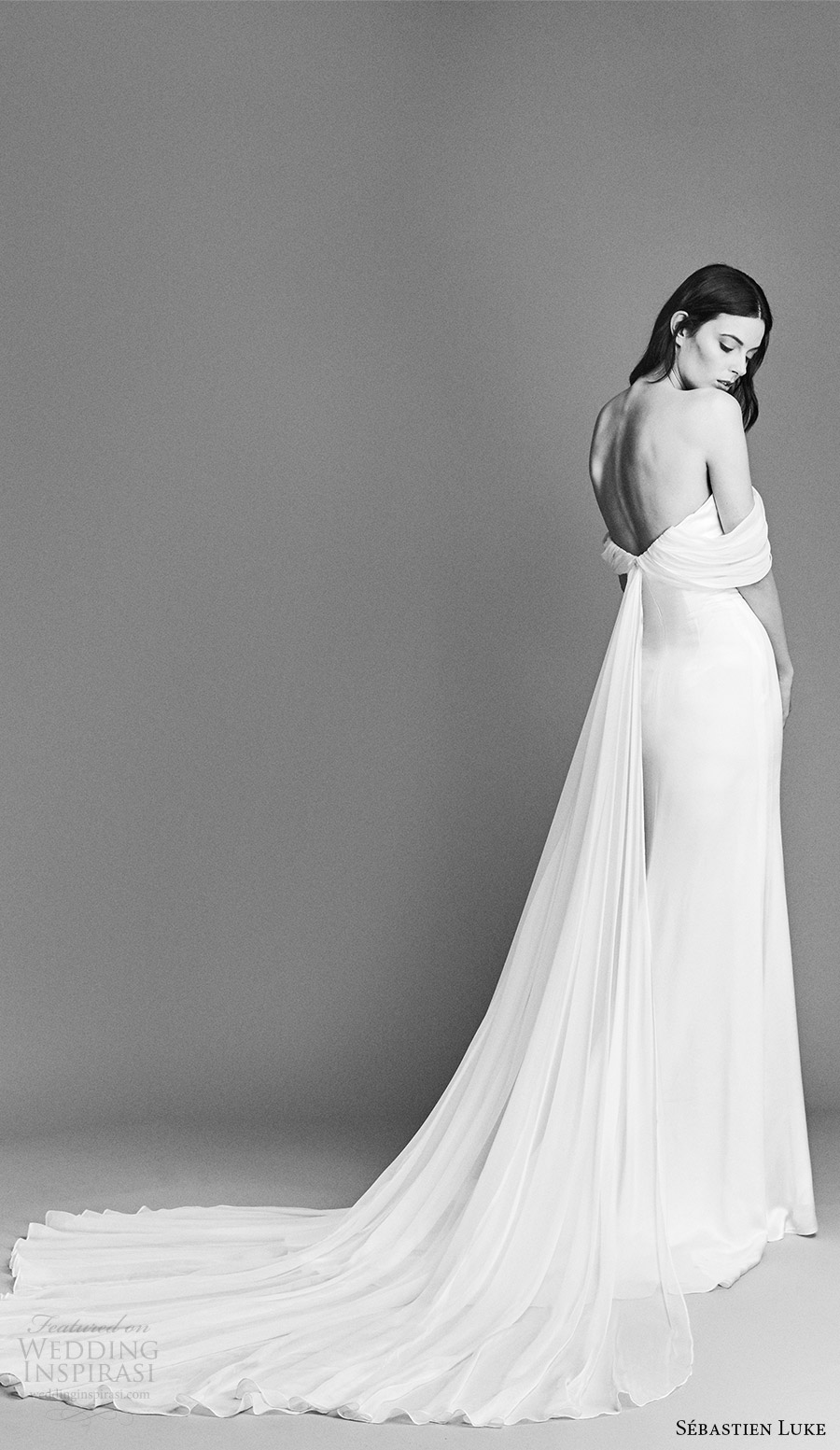sebastien luke spring 2018 bridal off shoulder draped sleeves clean sheath wedding dress (18b11) bv low long train chic modern