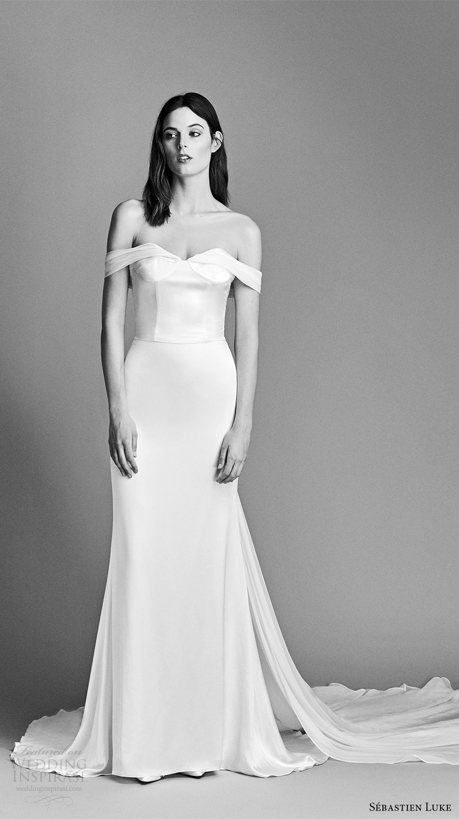 sebastien luke spring 2018 bridal off shoulder draped sleeves clean sheath wedding dress (18b11) mv low long train chic modern