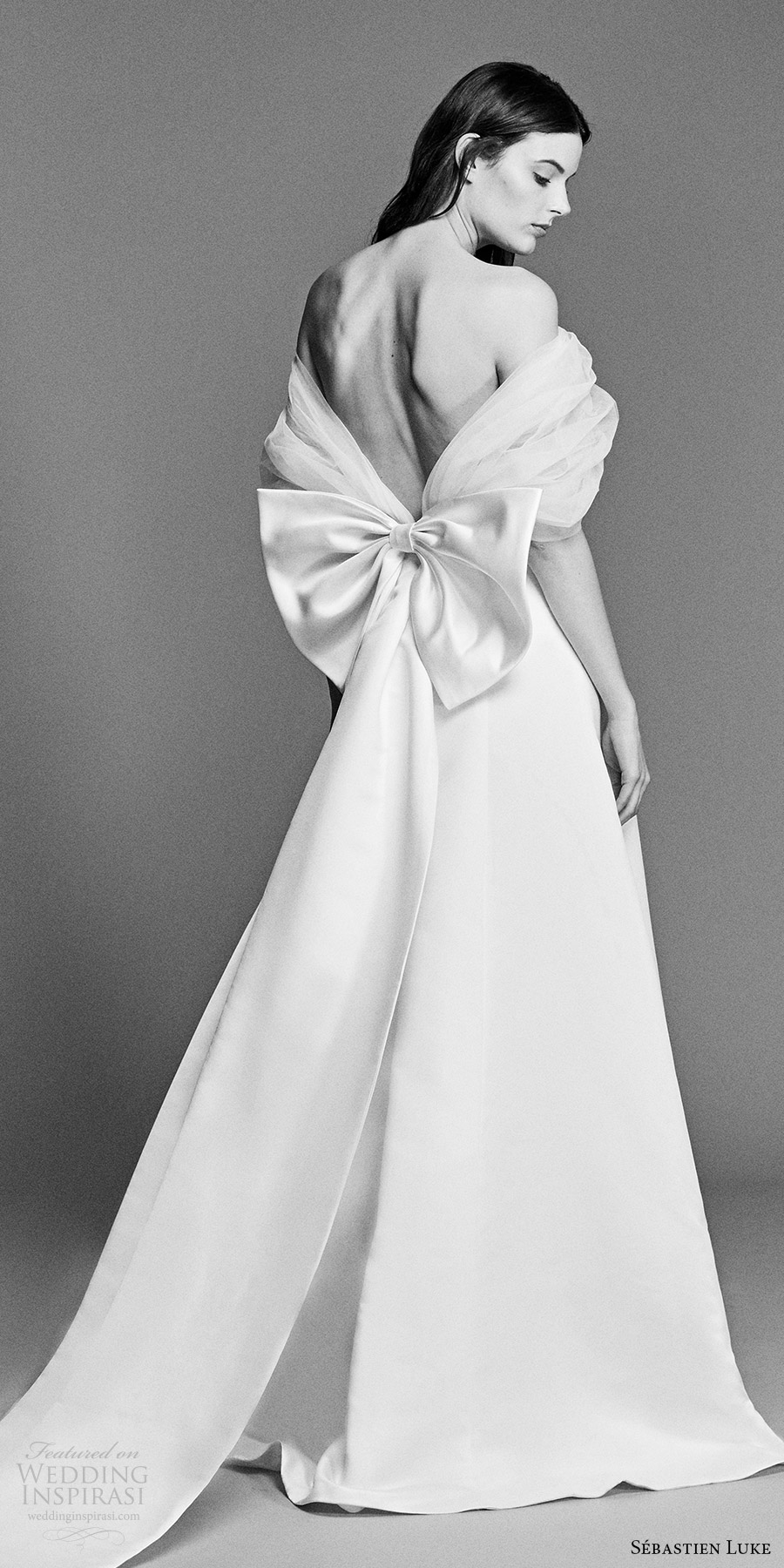 sebastien luke spring 2018 bridal off shoulder gathered tulle wrap a line wedding dress (18b18) bv modern romantic bow back