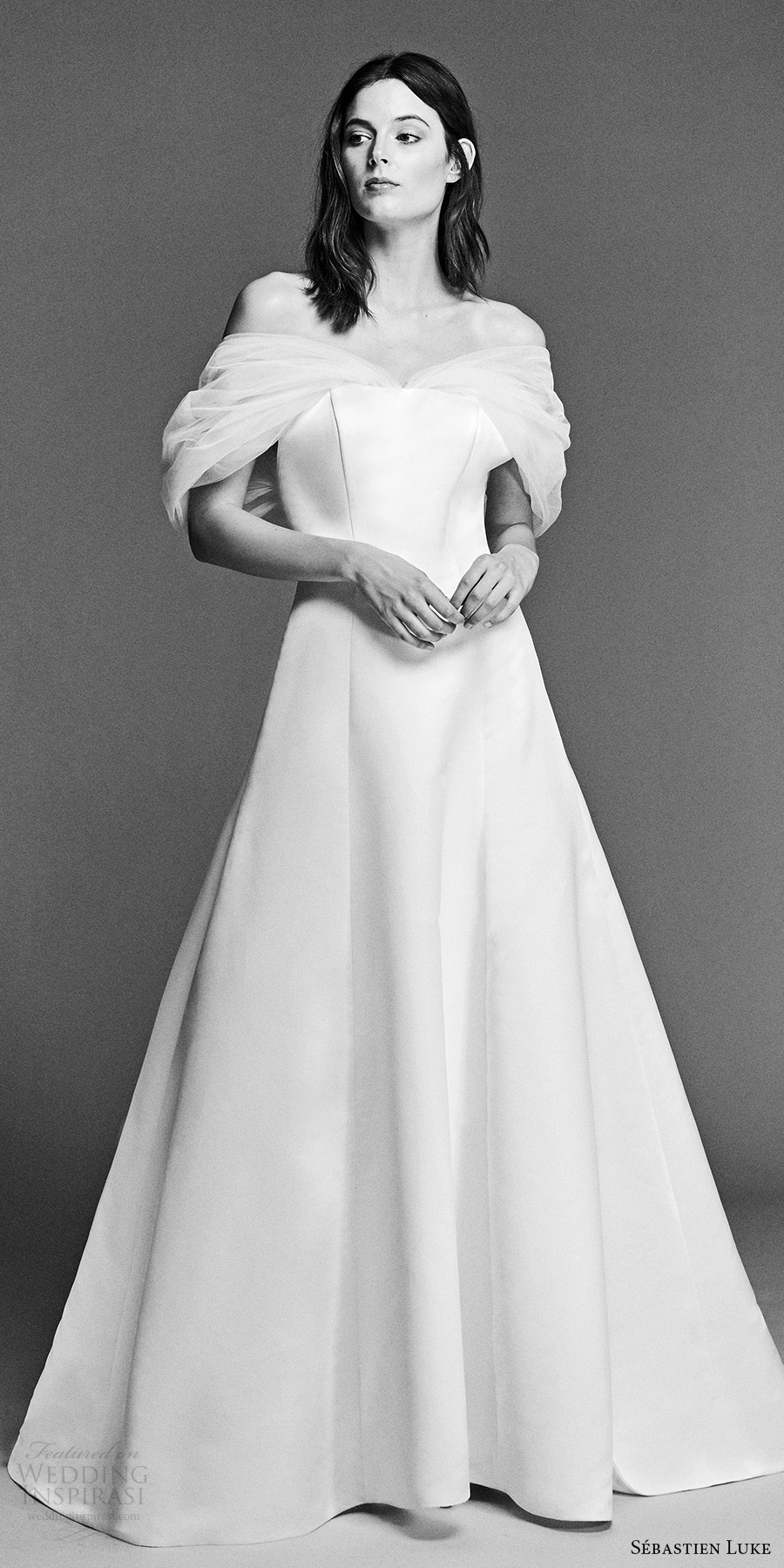 sebastien luke spring 2018 bridal off shoulder gathered tulle wrap a line wedding dress (18b18) mv modern romantic bow back