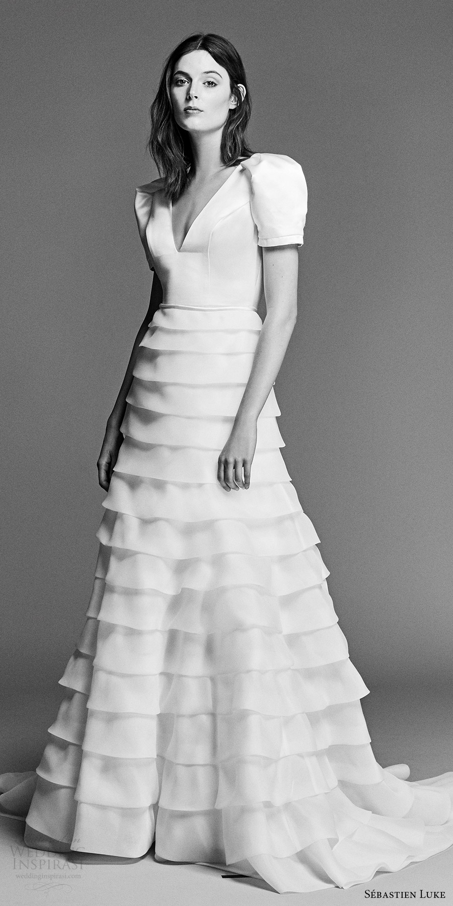 sebastien luke spring 2018 bridal puff sleeves v neck a line wedding dress tiered skirt (18b19a) mv train romantic