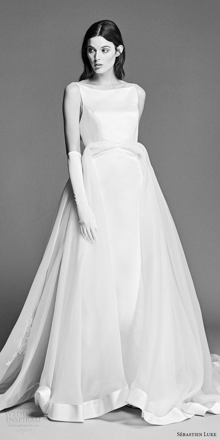 sebastien luke spring 2018 bridal sleeveless bateau neck ball gown wedding dress (18b15a) zv romantic chapel train