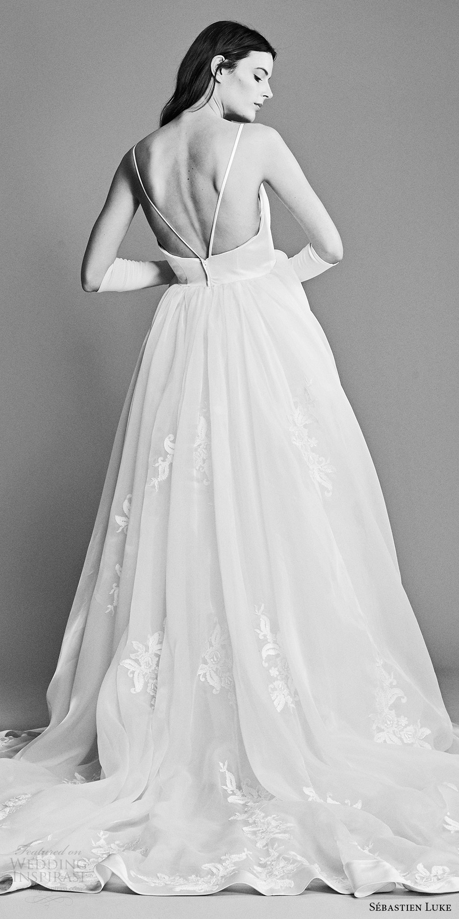 sebastien luke spring 2018 bridal sleeveless bateau neck ball gown wedding dress lace skirt (18b15a) zbv romantic chapel train