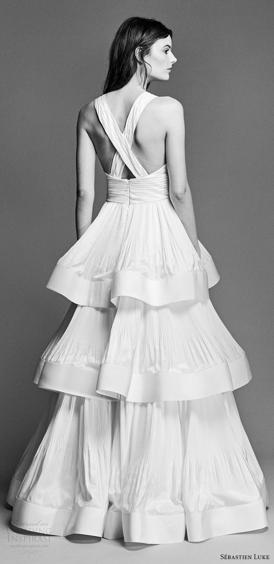 sebastien luke spring 2018 bridal sleeveless deep vneck column wedding dress tiered skirt (18b12) bv modern cross strap back