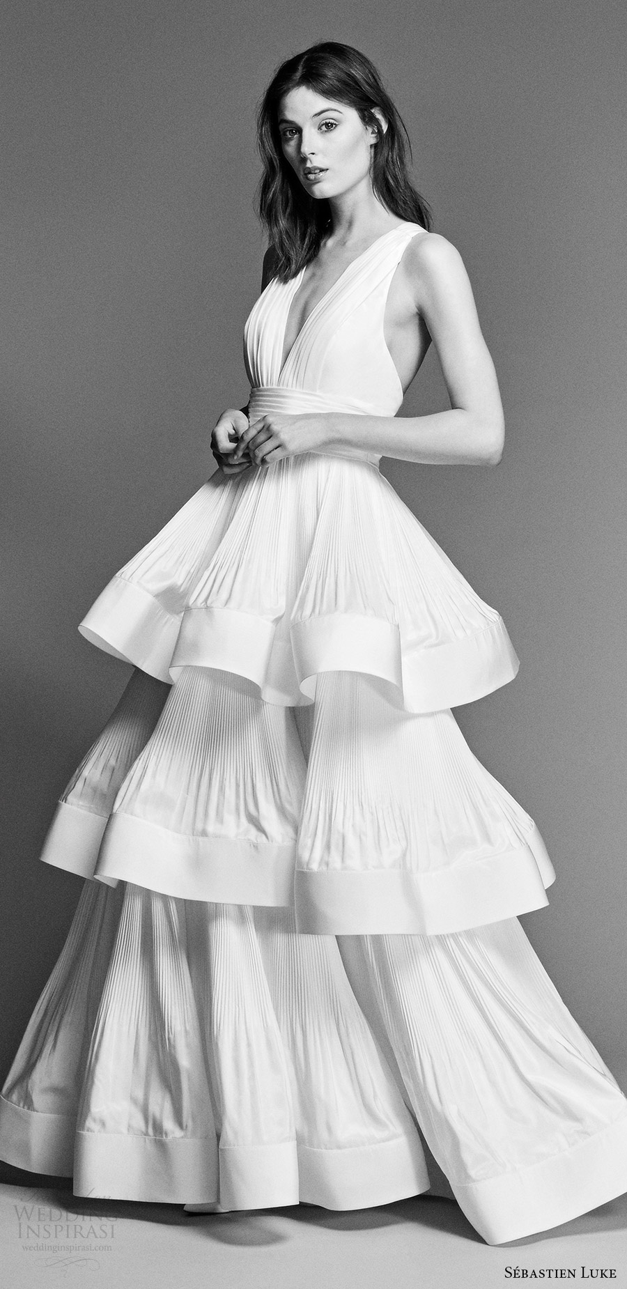 sebastien luke spring 2018 bridal sleeveless deep vneck column wedding dress tiered skirt (18b12) mv modern cross strap back
