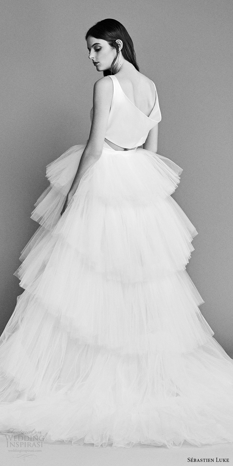 sebastien luke spring 2018 bridal sleeveless v neck ball gown wedding dress tiered tulle skirt bow waist (18b14a) bv romantic chapel train
