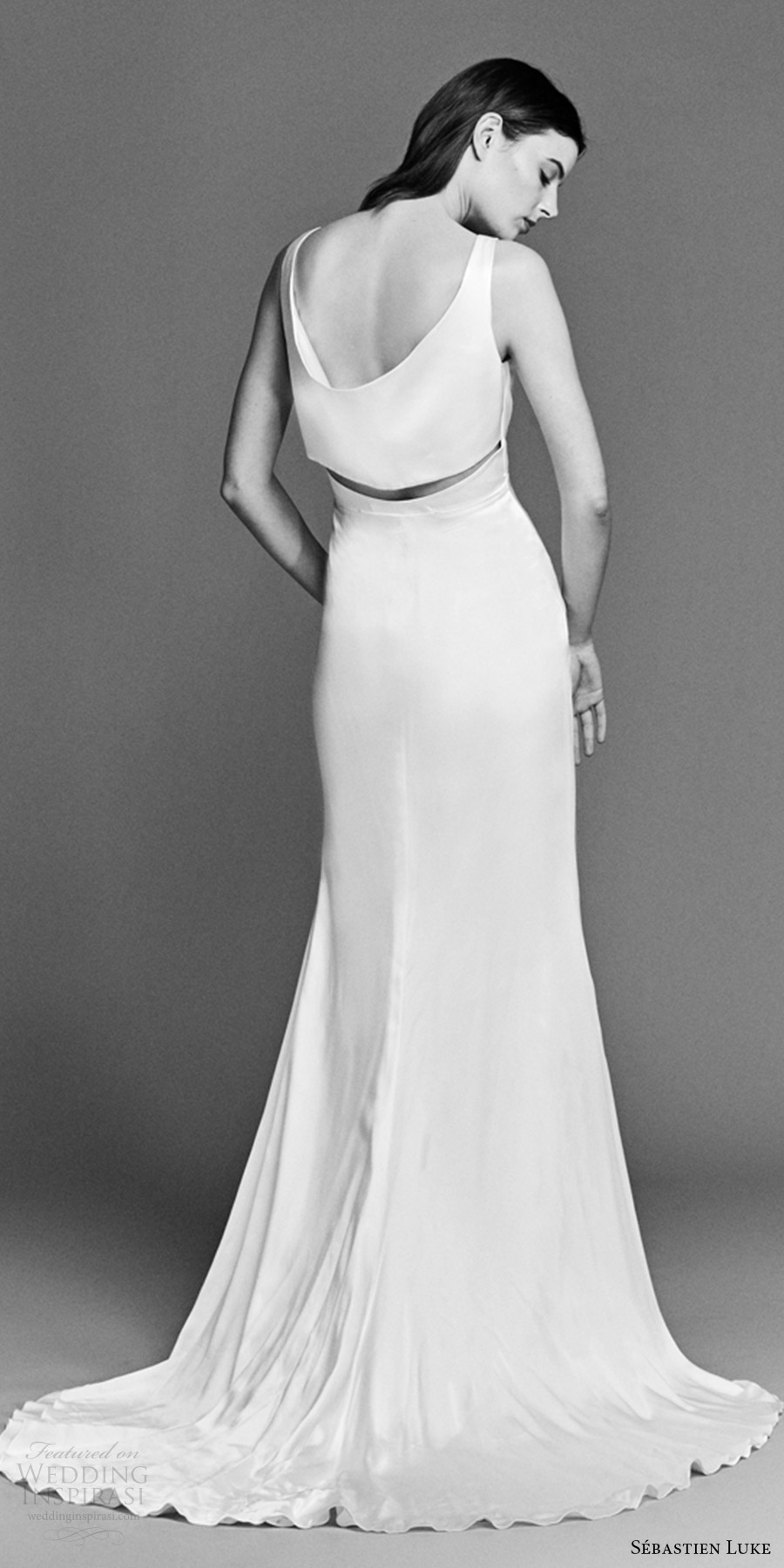 sebastien luke spring 2018 bridal sleeveless v neck clean sheath wedding dress (18b14b) bv short train modern chic