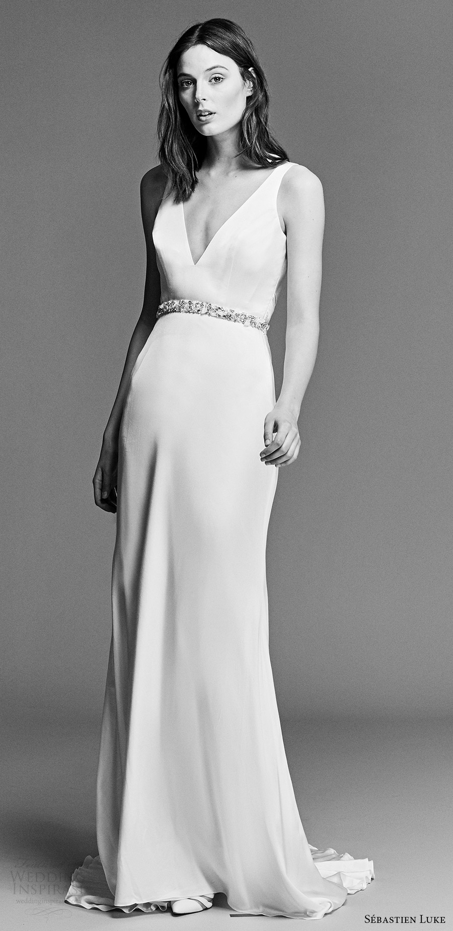sebastien luke spring 2018 bridal sleeveless v neck clean sheath wedding dress (18b14b) mv short train modern chic