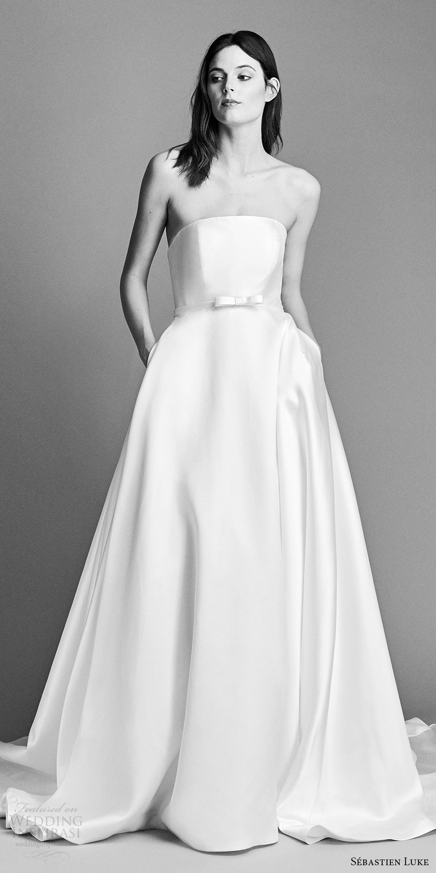 sebastien luke spring 2018 bridal strapless a line wedding dress (18b21) mv cathedral train modern