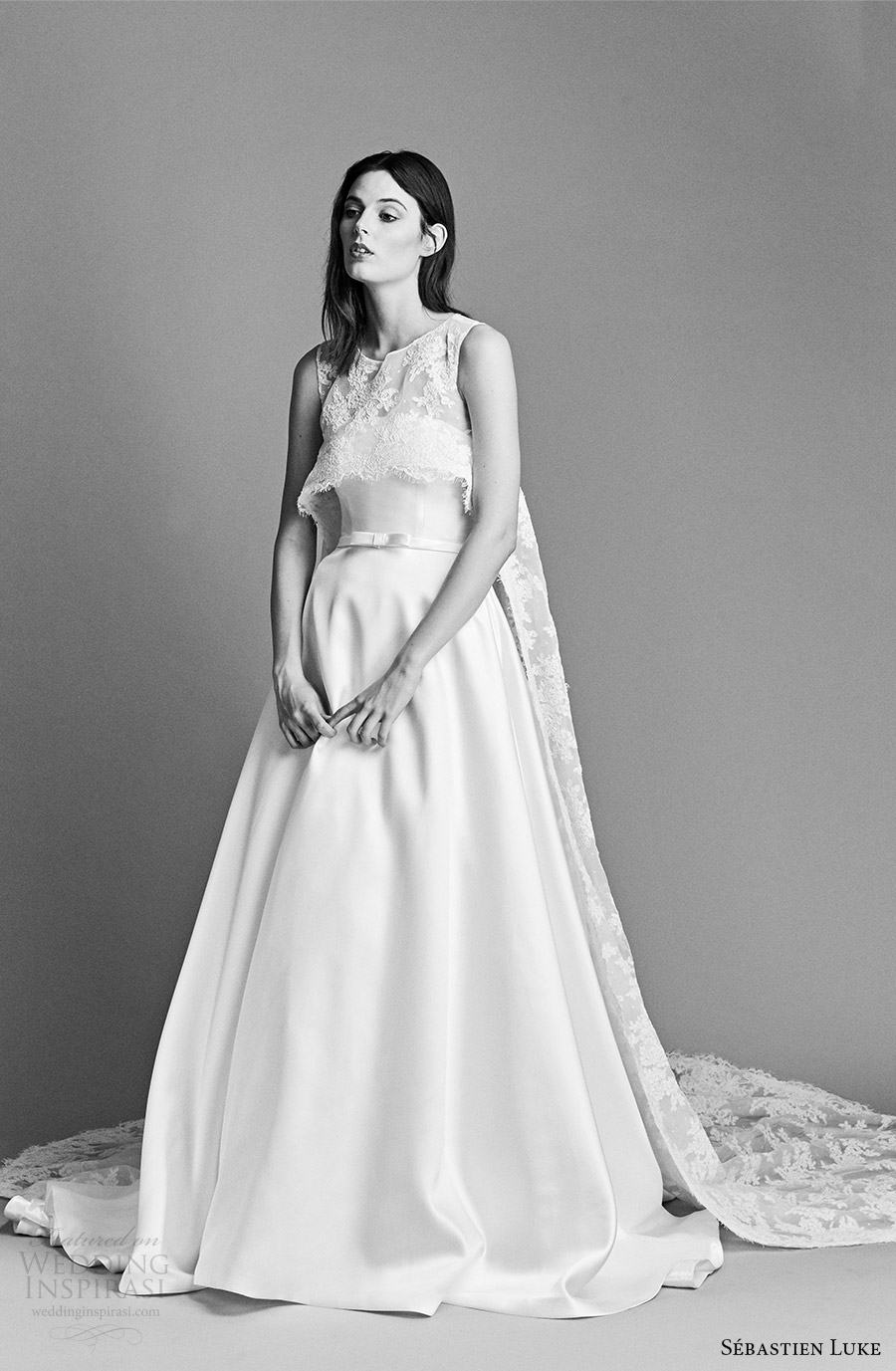 sebastien luke spring 2018 bridal strapless a line wedding dress lace crop top (18b21a) mv cathedral train modern