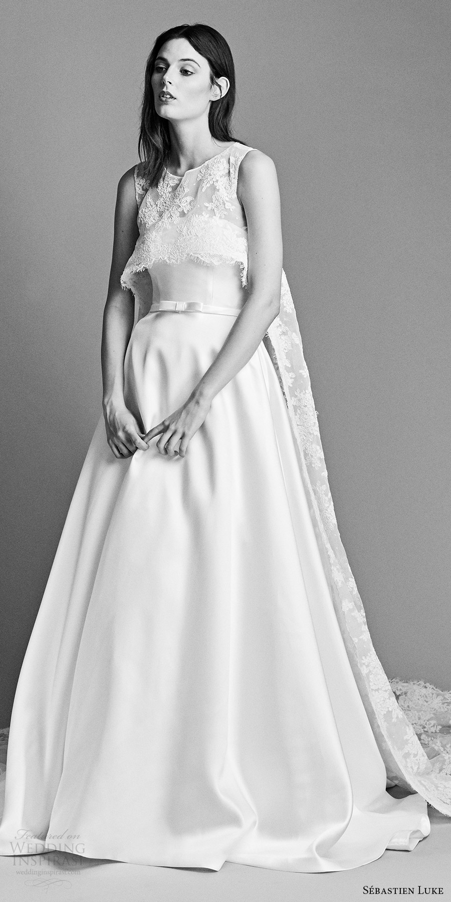 sebastien luke spring 2018 bridal strapless a line wedding dress lace crop top (18b21a) zv cathedral train modern